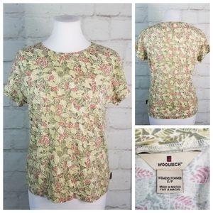 Woolrich S Sage Green Leaf Print Cap Sleeve Top